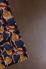 Indigo with Yellow Peepal Leaves Block Printed Kalamkari Fabric