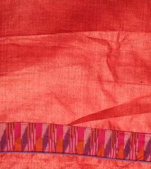 Red Tussar Silk Fabric with Purple Red Ikat Patch