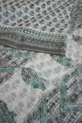 Grey Roses in White Block Printed Kota Saree