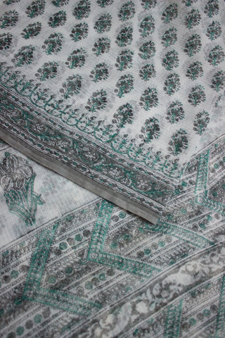 White with Grey Green Block Printed Kota Saree