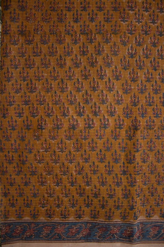 Rust Brown Block Printed Kota Doria Saree