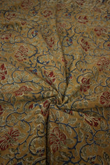 Hibiscus - Mustard with Maroon Flowers Block Printed Kalamkari Fabric