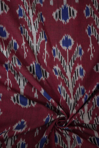 Maroon with blue special fine cotton Ikat Fabric
