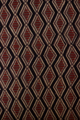 Black with Maroon Lines Block Printed Ajrak fabric
