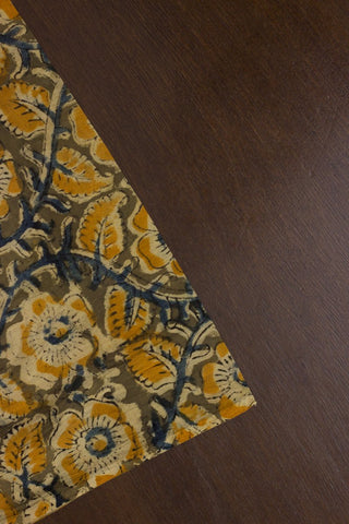 Indigo with Fenugreek Floral Printed Kalamkari Fabric