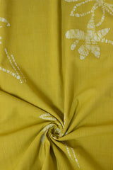 Subdued Yellow Natural Dyed Organic Cotton Fabric with Trims