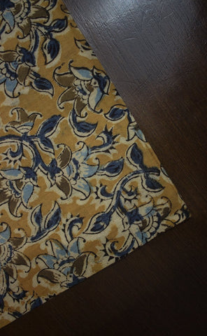 Light Mustard Block Printed Kalamkari Fabric