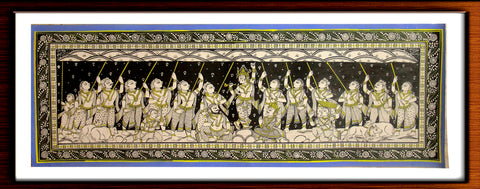 Govardhana Giridari - Pattachitra Hand Painted Wall hanging (Long)