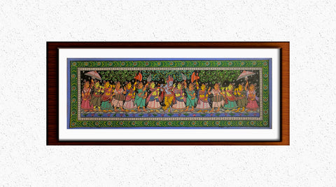 Krishna Leela - Pattachitra Hand Painted Wall hanging (Long)