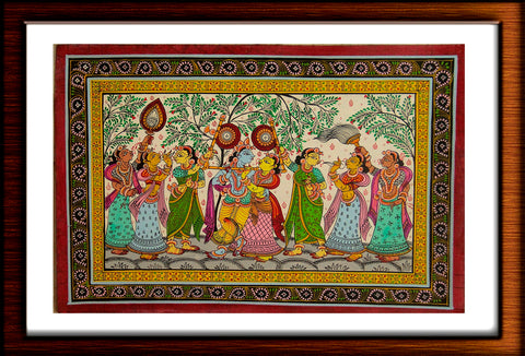 Krishna Leela - Hand Painted Pattachitra Painting