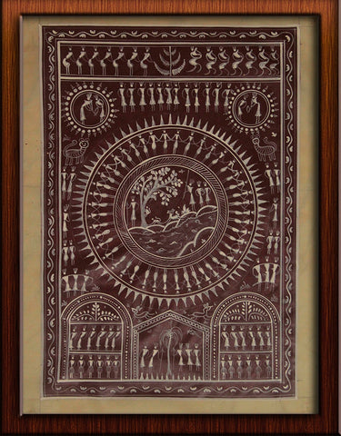 Warli - Pattachitra Painting on Paper like Tussar Fabric