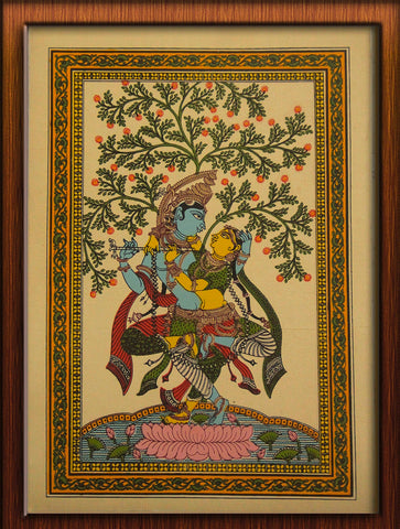 Radha Krishna - Pattachitra Hand Painted Wall hanging