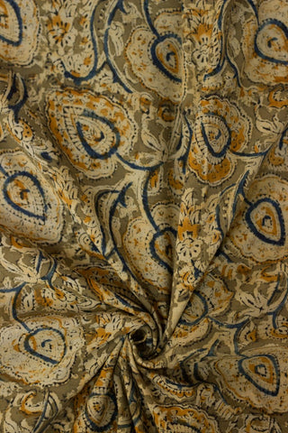 Light Olive Green with Big Leaf Printed Kalamkari Fabric