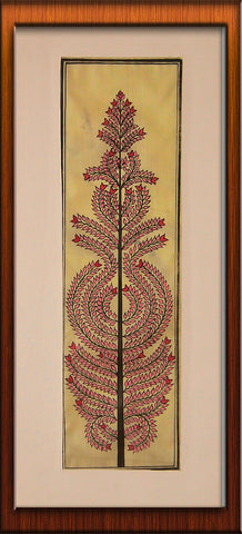 Tree of Life in Pink - Pattachitra Hand Painted Wall hanging