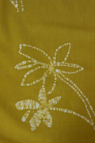 Yellow Floral - Batik work Organic Handwoven Cotton