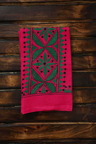 Pink with Green Embroidered Cotton Blouse Fabric