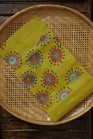 Greenish Yellow Kantha Work Tussar Silk Blouse Fabric