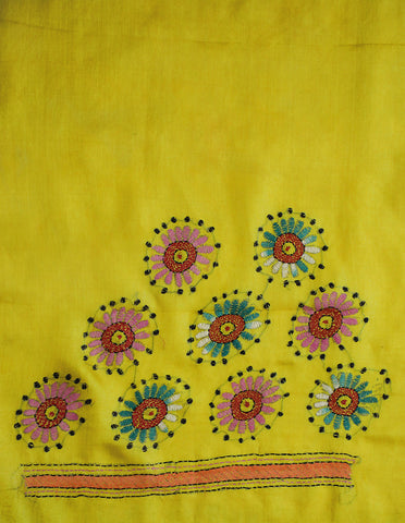 Lemon Yellow Kantha Work Tussar Silk Blouse Fabric