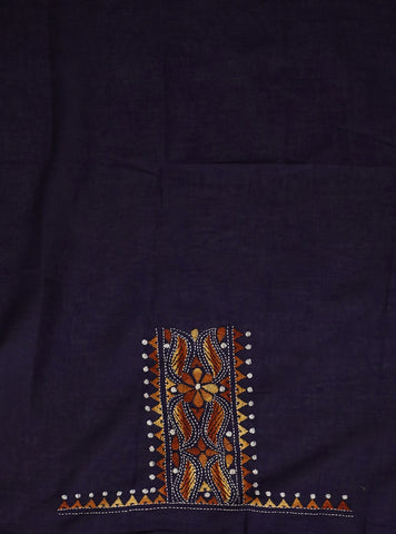 Dark Blue Embroidered Cotton Blouse Fabric