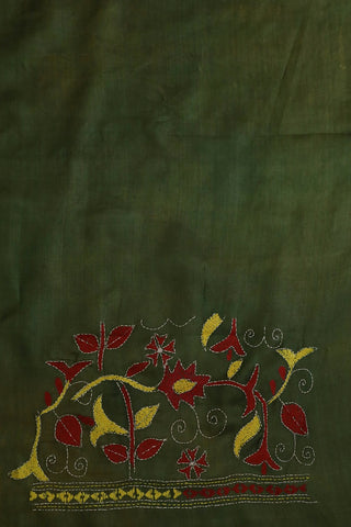 Olive Green Kantha Embroidered Tussar Silk Blouse