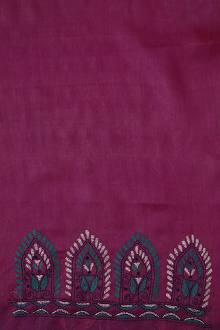Pinkish Purple Kantha Embroidered Tussar Silk Blouse