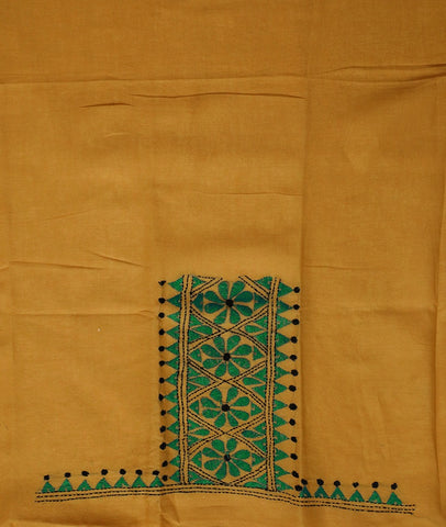 Beige with Bluish Green Embroidered Cotton Blouse Fabric