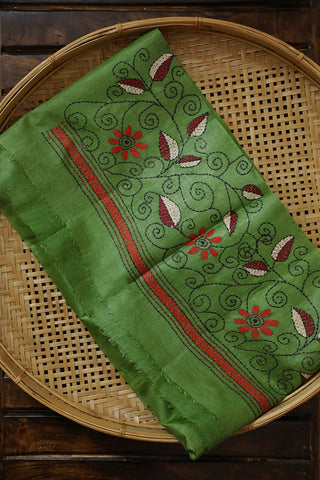 Light Green Kantha Work Tussar Silk Blouse Fabric