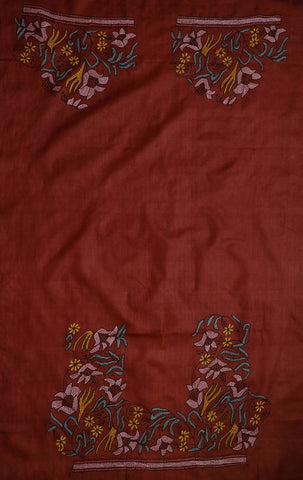 Maroonish Brown Embroidery Tussar Silk Blouse
