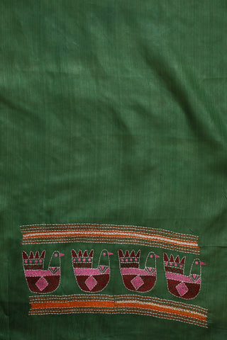 Moss Green Kantha Embroidered Tussar Silk Blouse