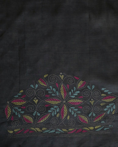 Grey Kantha Work Tussar Silk Blouse Fabric