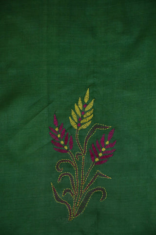 Green with Pink Kantha Embroidered Tussar Silk Blouse Fabric