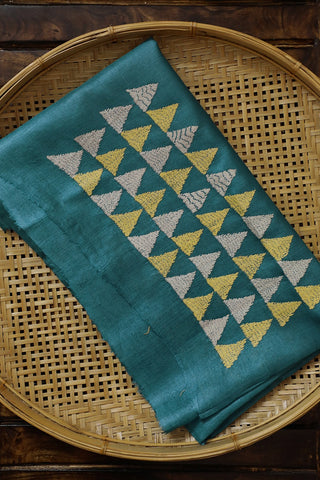 Triangle Embroidered Tussar Silk Blouse Fabric