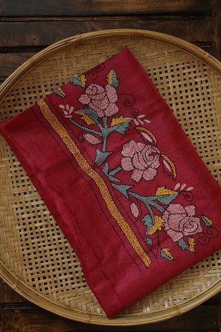 Pinkish Red Kantha Work Tussar Silk Blouse