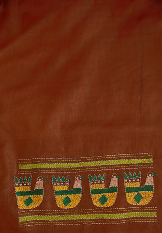 Brown with Yellow Duck Embroidered Tussar Silk Blouse