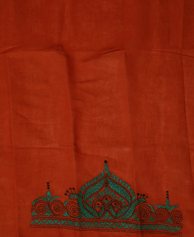 Rust Red with Green Kantha Cotton Blouse Fabric
