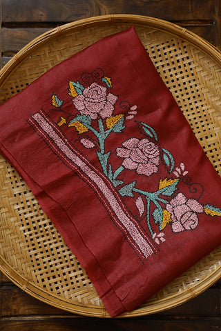 Rose Embroidered Tussar Silk Blouse Fabric