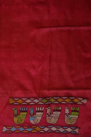 Pinkish Maroon Kantha Embroidered Tussar  Silk Blouse Fabric
