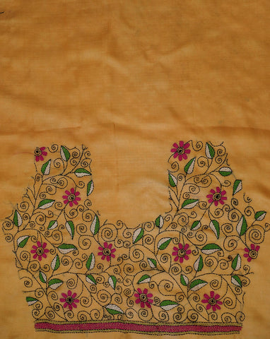 Pink with Green Floral embroidered Silk Blouse Fabric