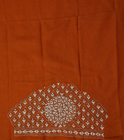 Brownish Orange Kantha Cotton Blouse Fabric