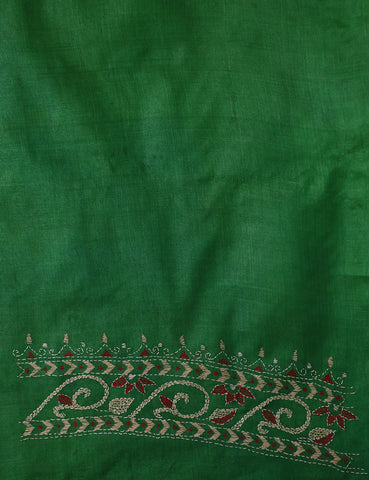 Green with Maroon Embroidered Tussar Silk Blouse Fabric