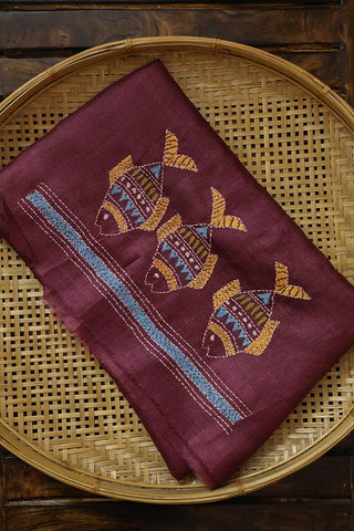 Fish Embroidered Tussar Silk Blouse Fabric