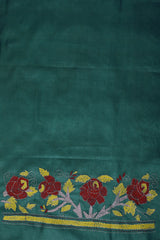 Blue with Red Floral Tussar Silk Blouse Fabric