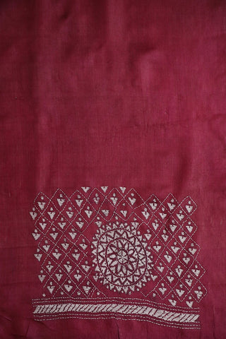 Dark Pink Kantha Embroidered Tussar Silk Blouse