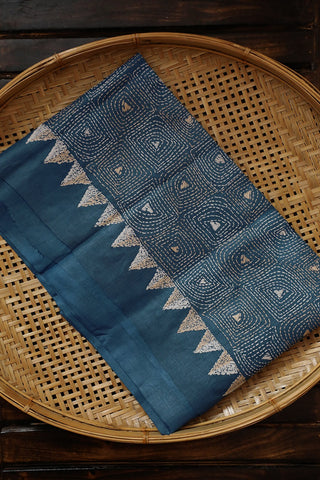Ink Blue Kantha Work Tussar Silk Blouse Fabric