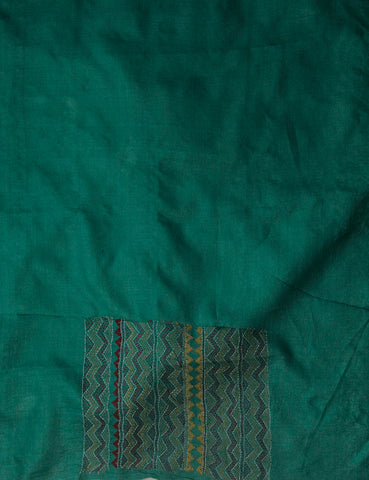 Zigzags in Green Handworked Kantha tussar silk Blouse