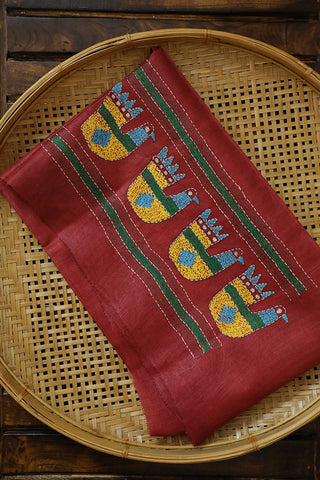 Maroon with Duck Embroidered Tussar Silk Blouse Fabric