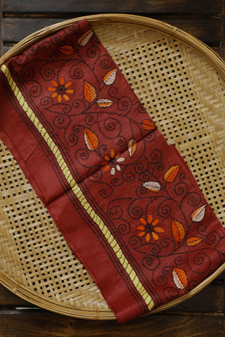 Orange with Brown Floral Embroidered Tussar Silk Blouse