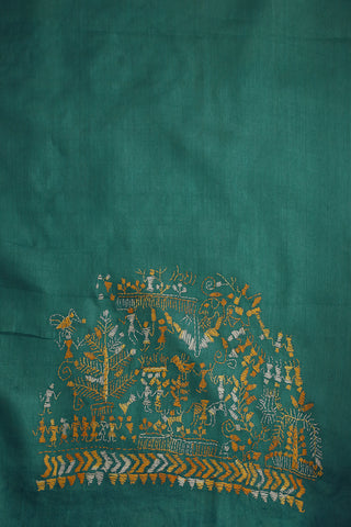 Warli Design Embroidered Tussar Silk Blouse