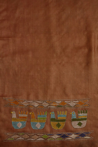Light Brown Kantha Work Tussar Silk Blouse
