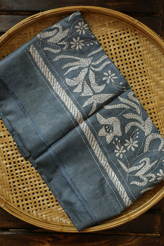 Grey with Off White Kantha Work Tussar Silk Blouse Fabric